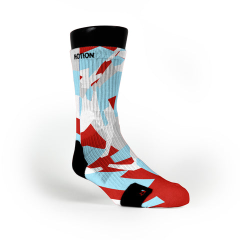 Blue & Red Hardwood Camo Custom Notion Socks