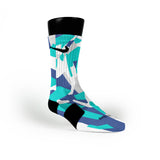 Blue & Teal Hardwood Camo Custom Nike Elite Socks