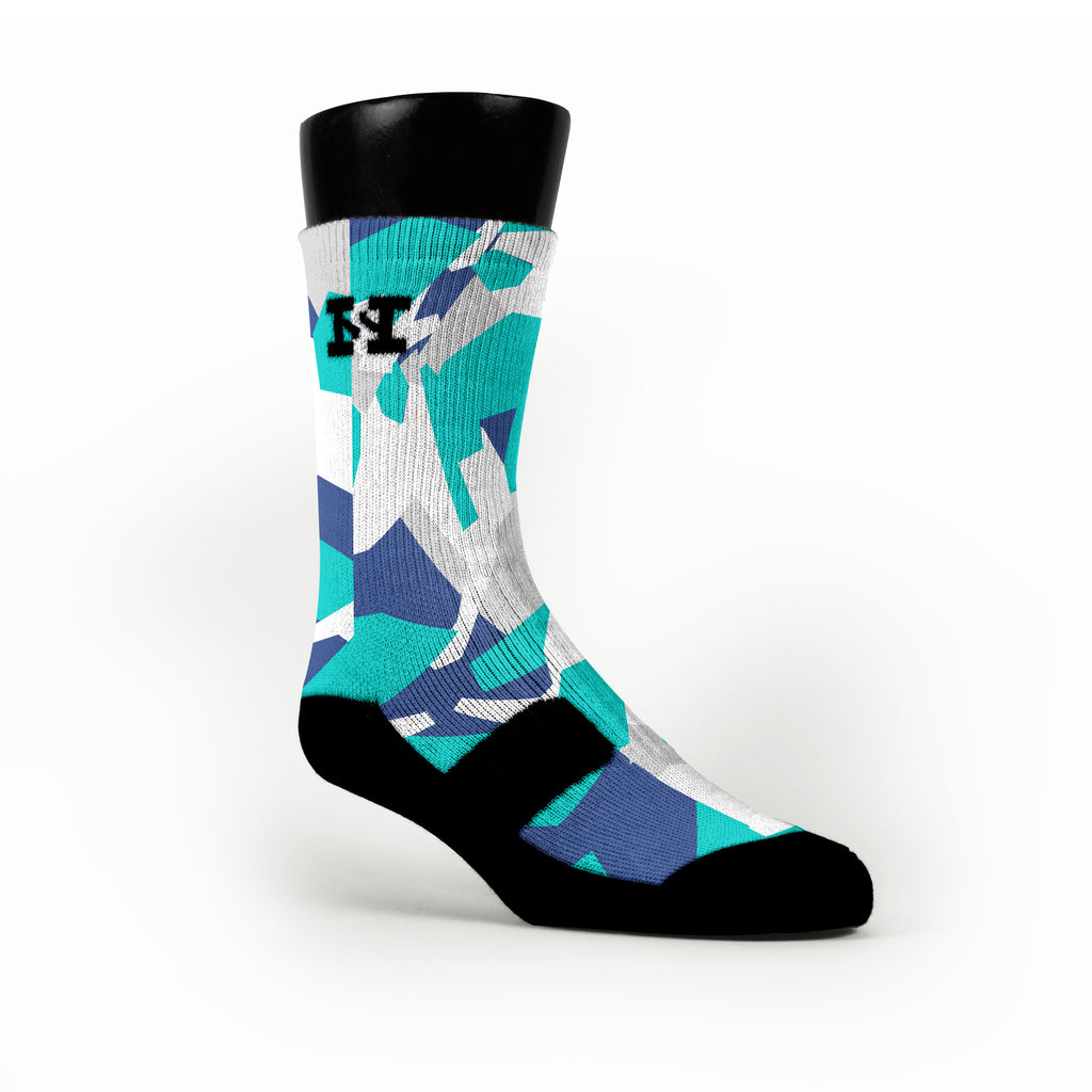 Blue & Teal Hardwood Camo Custom HoopSwagg Socks
