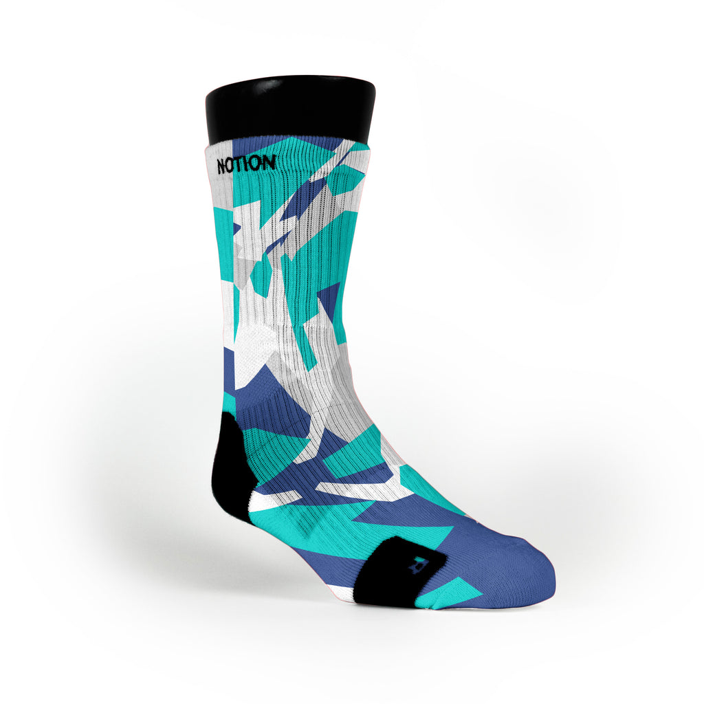 Blue & Teal Hardwood Camo Custom Notion Socks