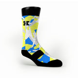 Blue & Yellow Hardwood Camo Custom HoopSwagg Socks