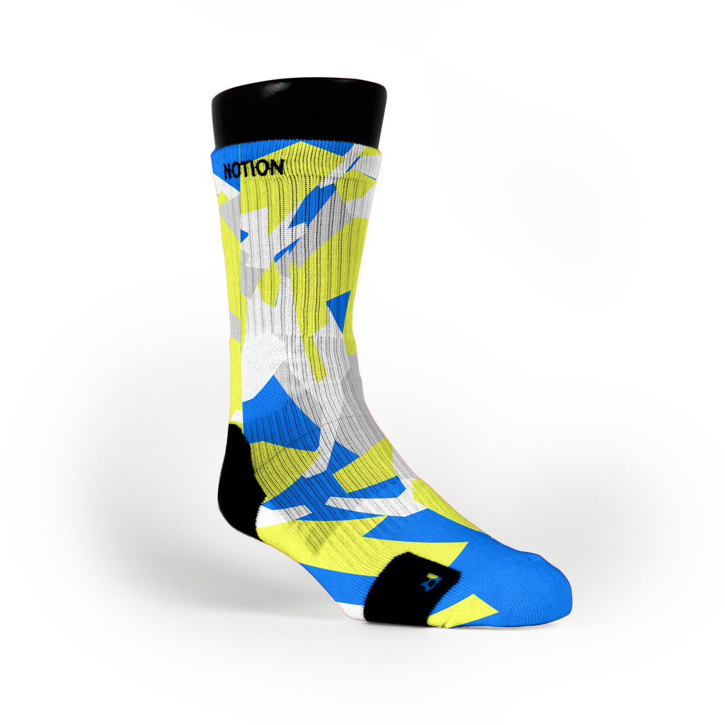 Blue & Yellow Hardwood Camo Custom Notion Socks