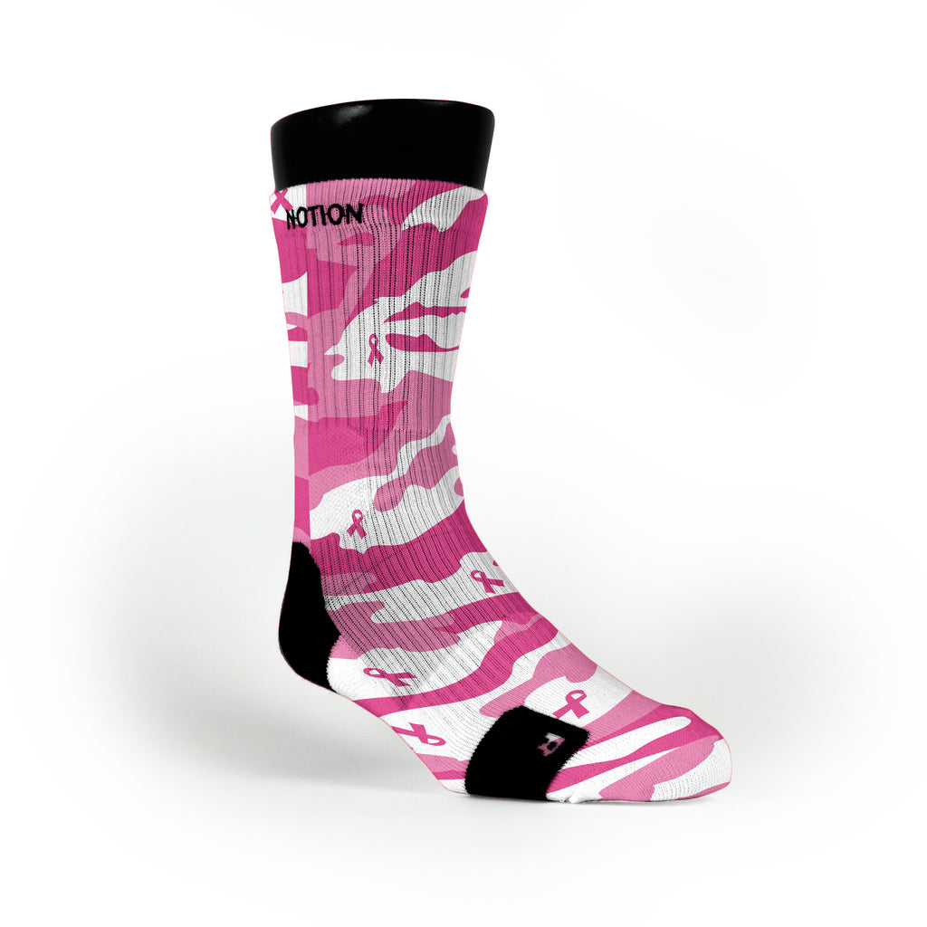 Breast Cancer Camo Custom Notion Socks