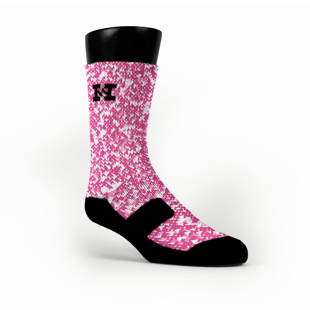 Breast Cancer Crooked Camo Custom HoopSwagg Socks