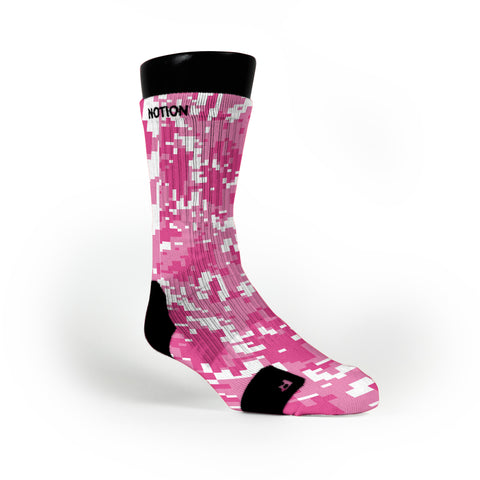Breast Cancer Digital Camo Custom Notion Socks