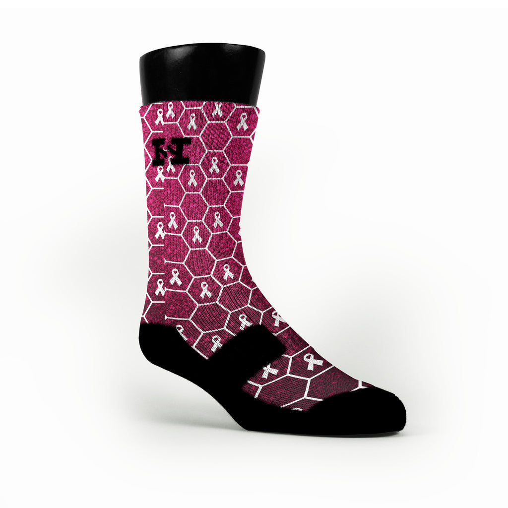 Breast Cancer Honeycomb Custom HoopSwagg Socks