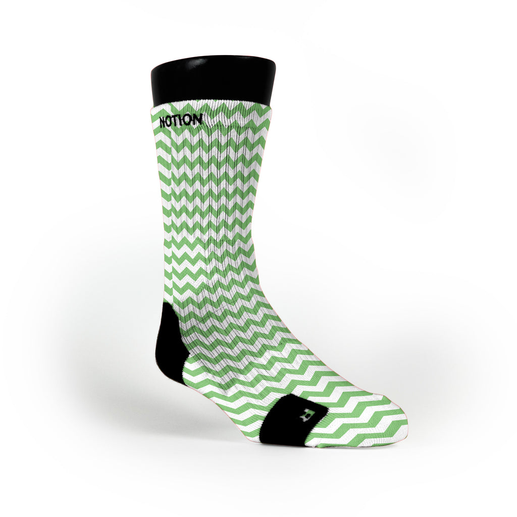 Chevron Green Custom Notion Socks