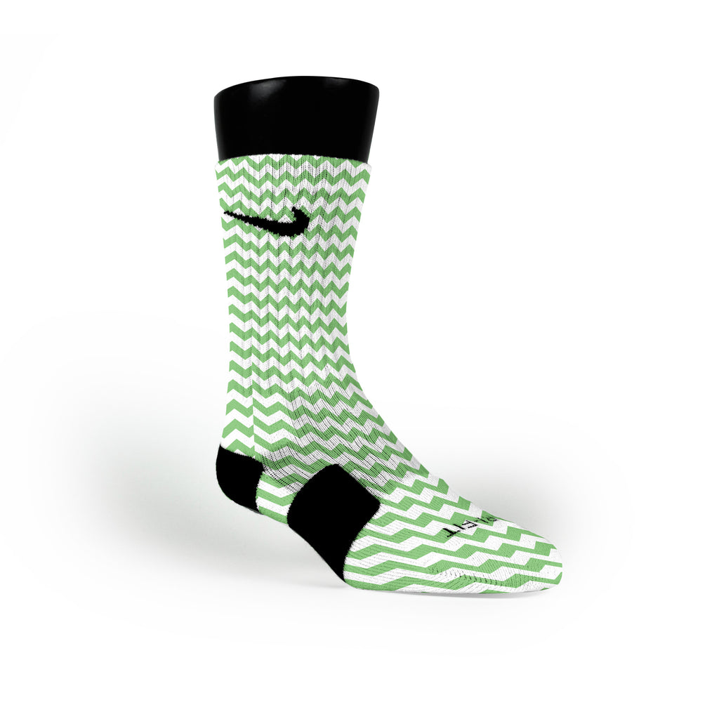 Chevron Green Custom Nike Elite Socks