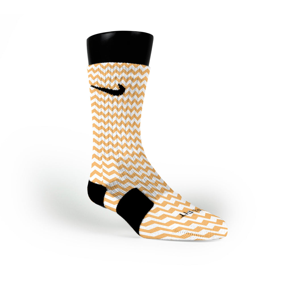 Chevron Orange Custom Nike Elite Socks