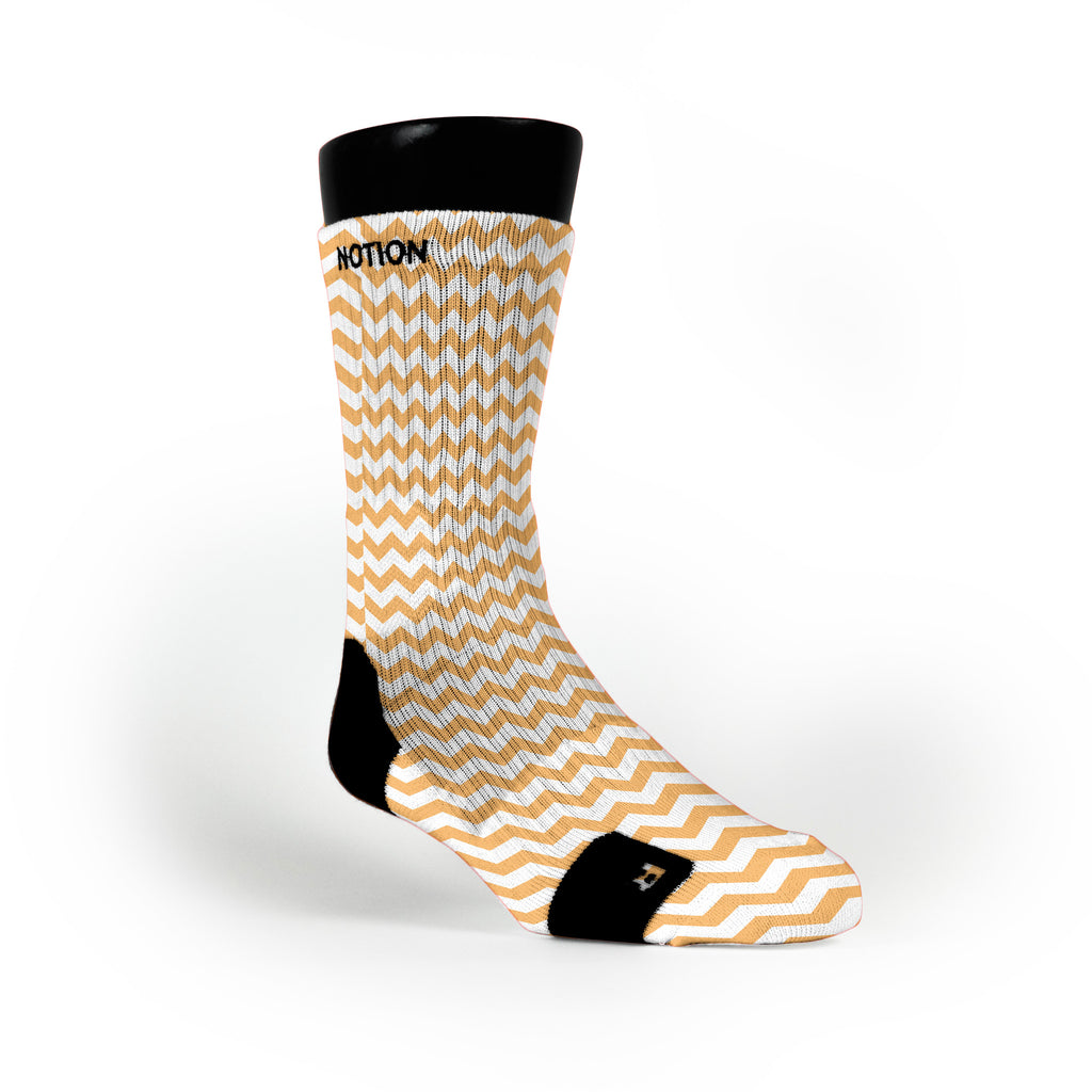Chevron Orange Custom Notion Socks