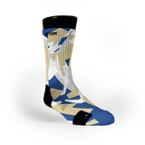 Gold & Blue Hardwood Camo Custom Notion Socks