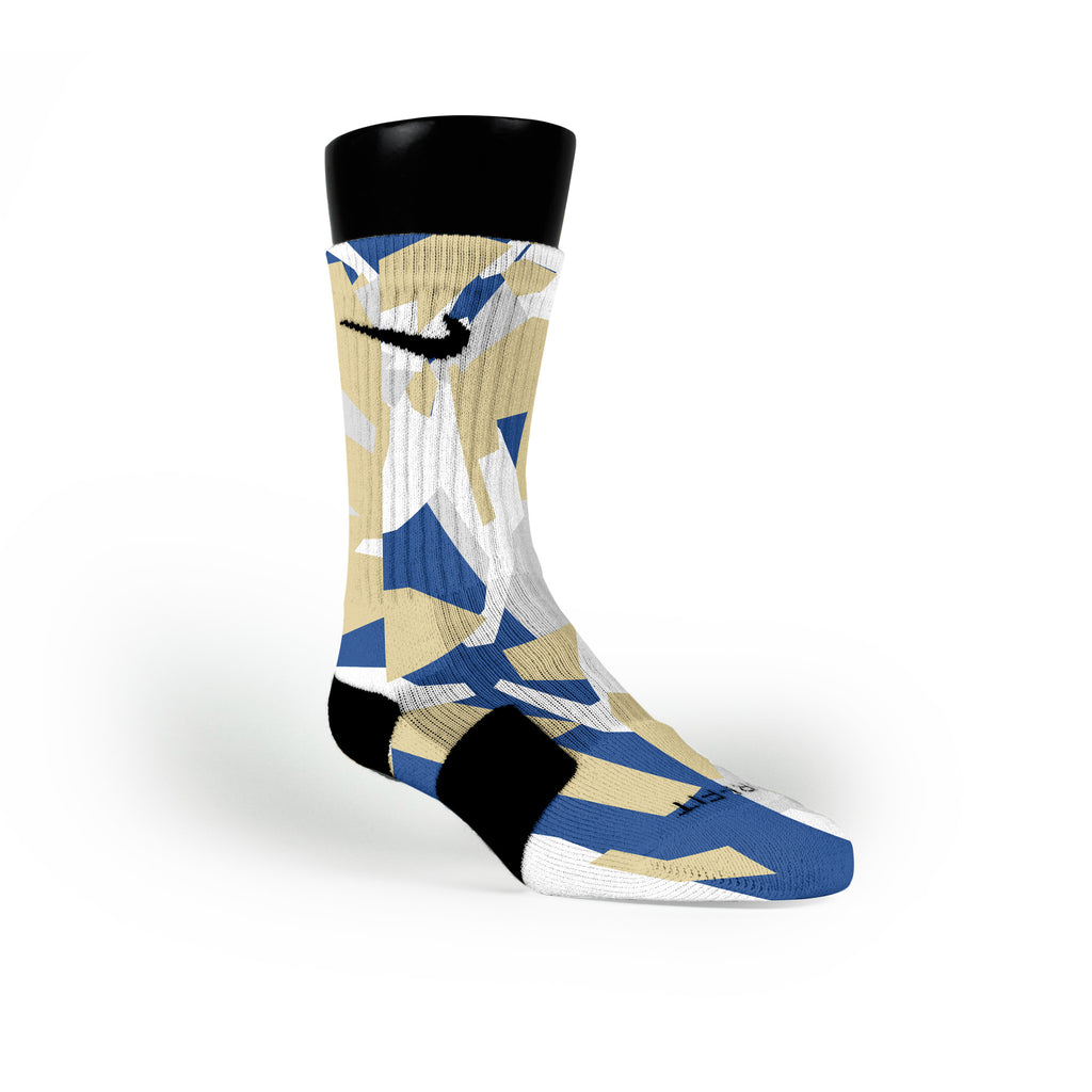 Gold & Blue Hardwood Camo Custom Nike Elite Socks