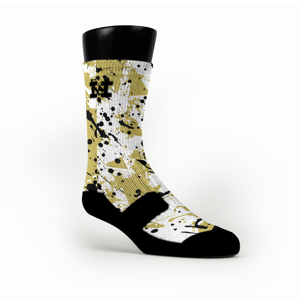 Golden Splatter Custom HoopSwagg Socks