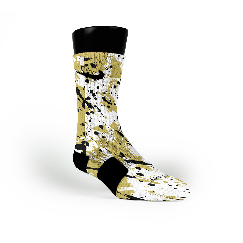 Golden Splatter Custom Nike Elite Socks