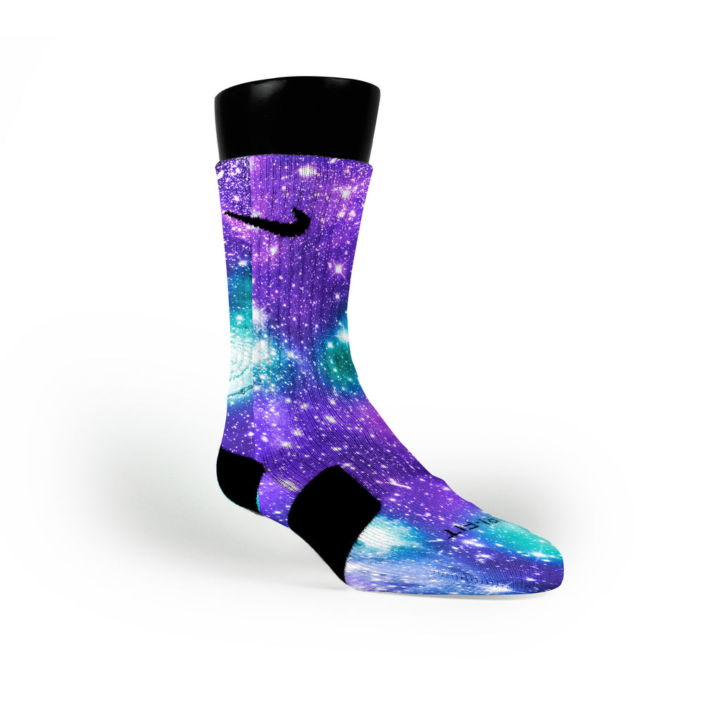 Grape Galaxy Custom Nike Elite Socks