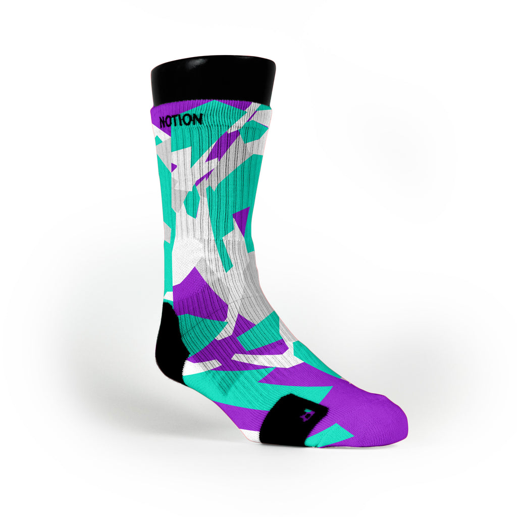 Green & Purple Hardwood Camo Custom Notion Socks