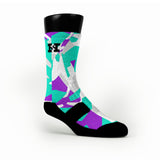 Green & Purple Hardwood Camo Custom HoopSwagg Socks