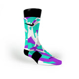 Green & Purple Hardwood Camo Custom Nike Elite Socks
