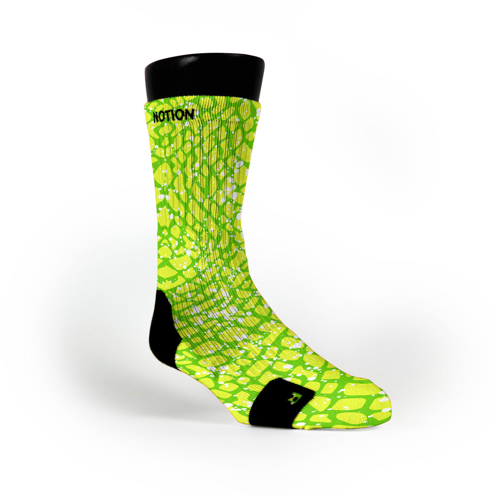 Green Space Invaders Custom Notion Socks
