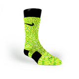 Green Space Invaders Custom Nike Elite Socks