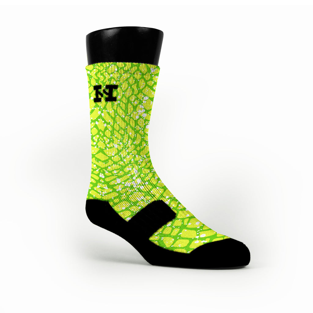 Green Space Invaders Custom HoopSwagg Socks