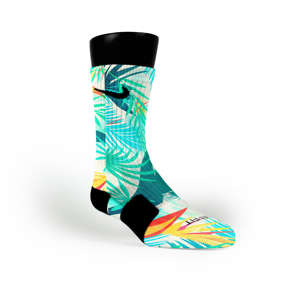 Light Blue Tropics Custom Nike Elite Socks