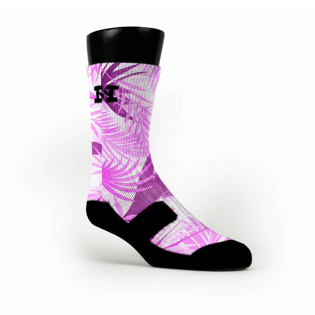 Miami Purple Tropics Custom HoopSwagg Socks