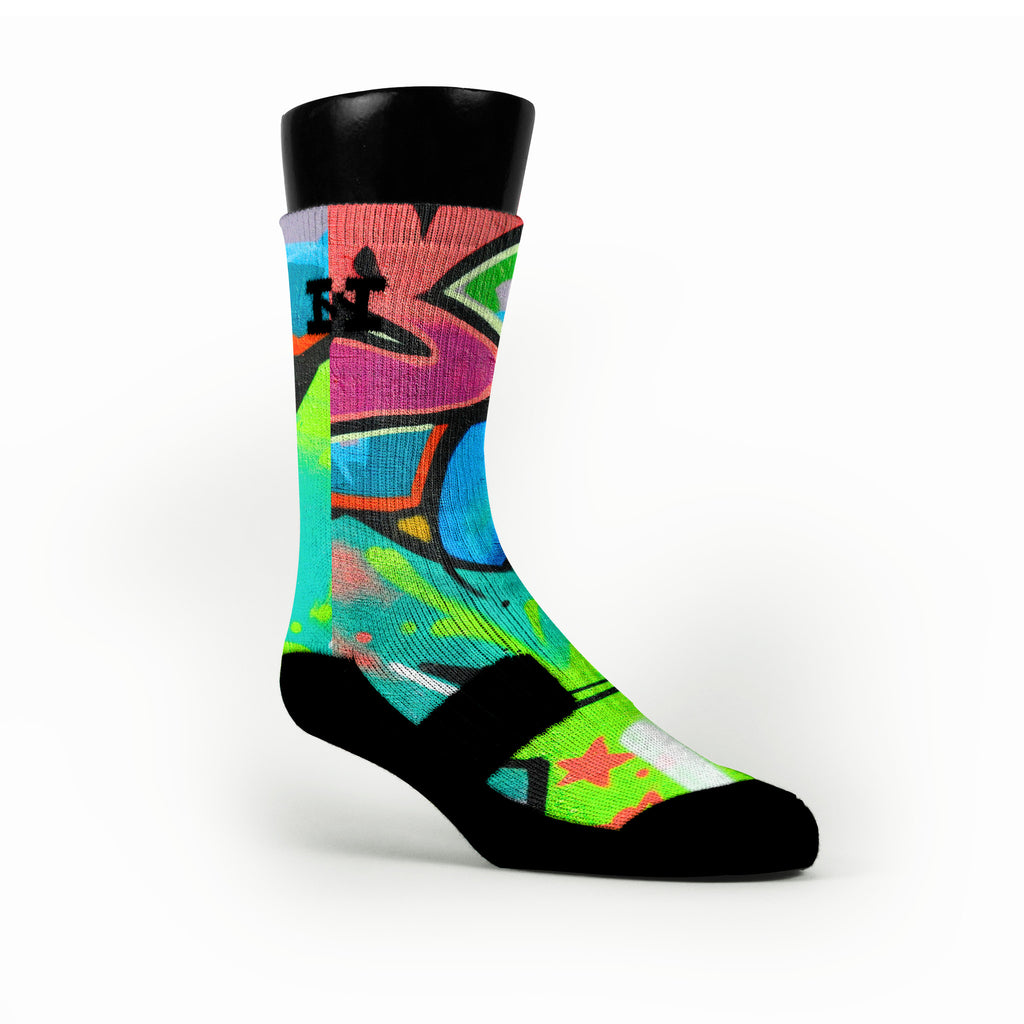 Miami South Beach Graffiti Custom HoopSwagg Socks
