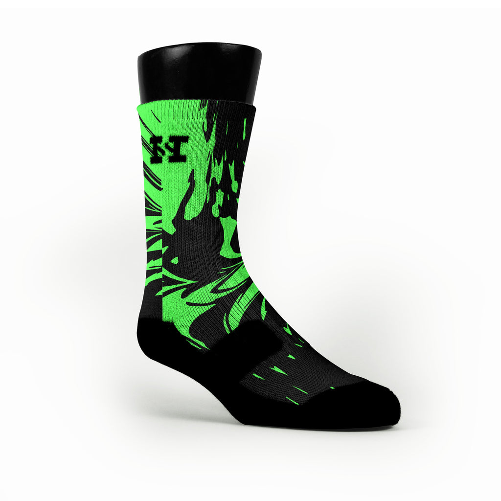 Midnight Green Swirl Custom HoopSwagg Socks