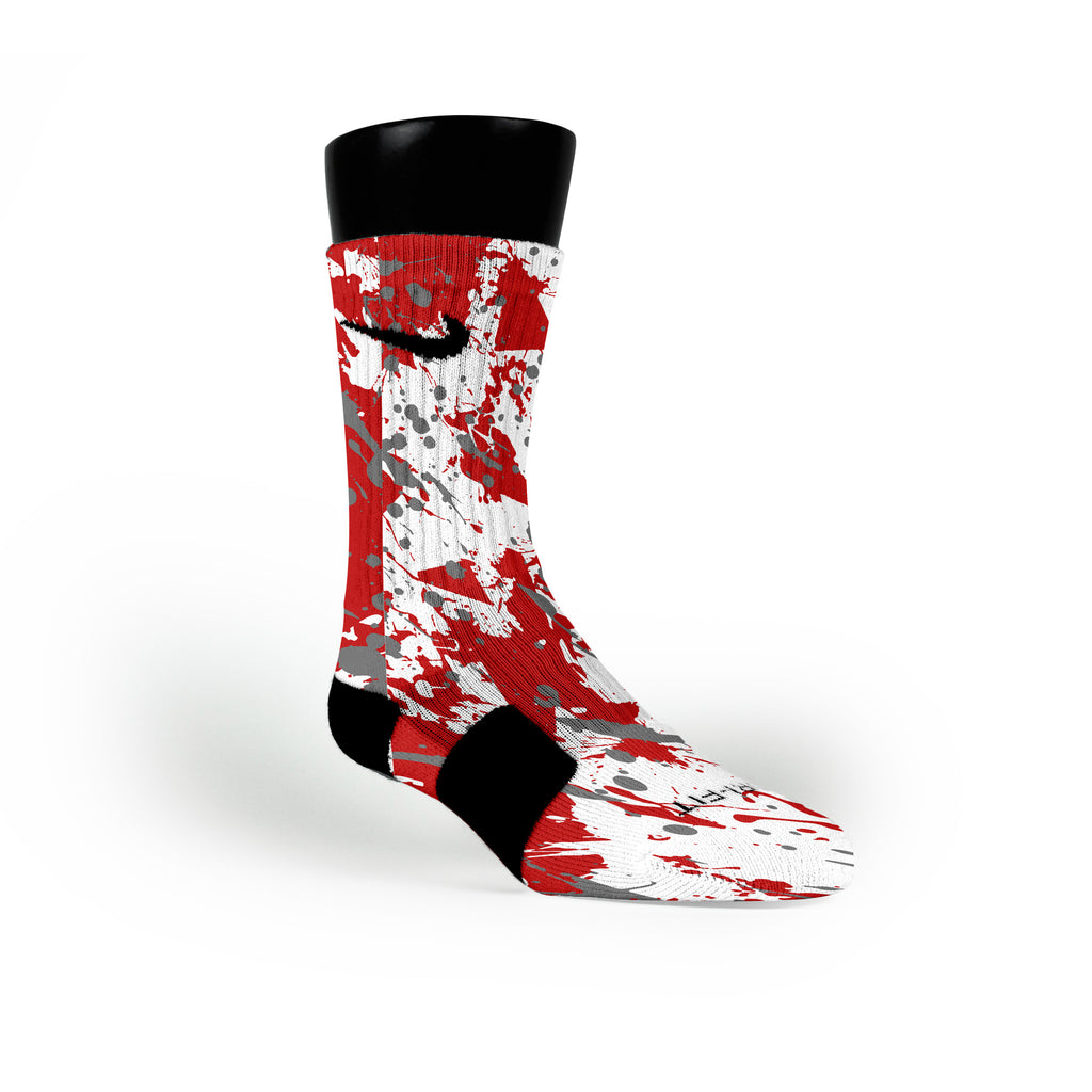 Ohio State Splatter Custom Nike Elite Socks