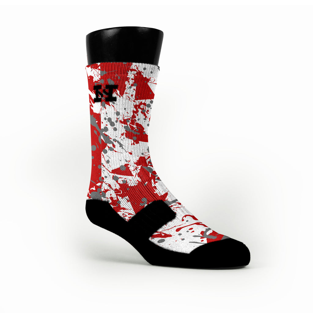 Ohio State Splatter Custom HoopSwagg Socks
