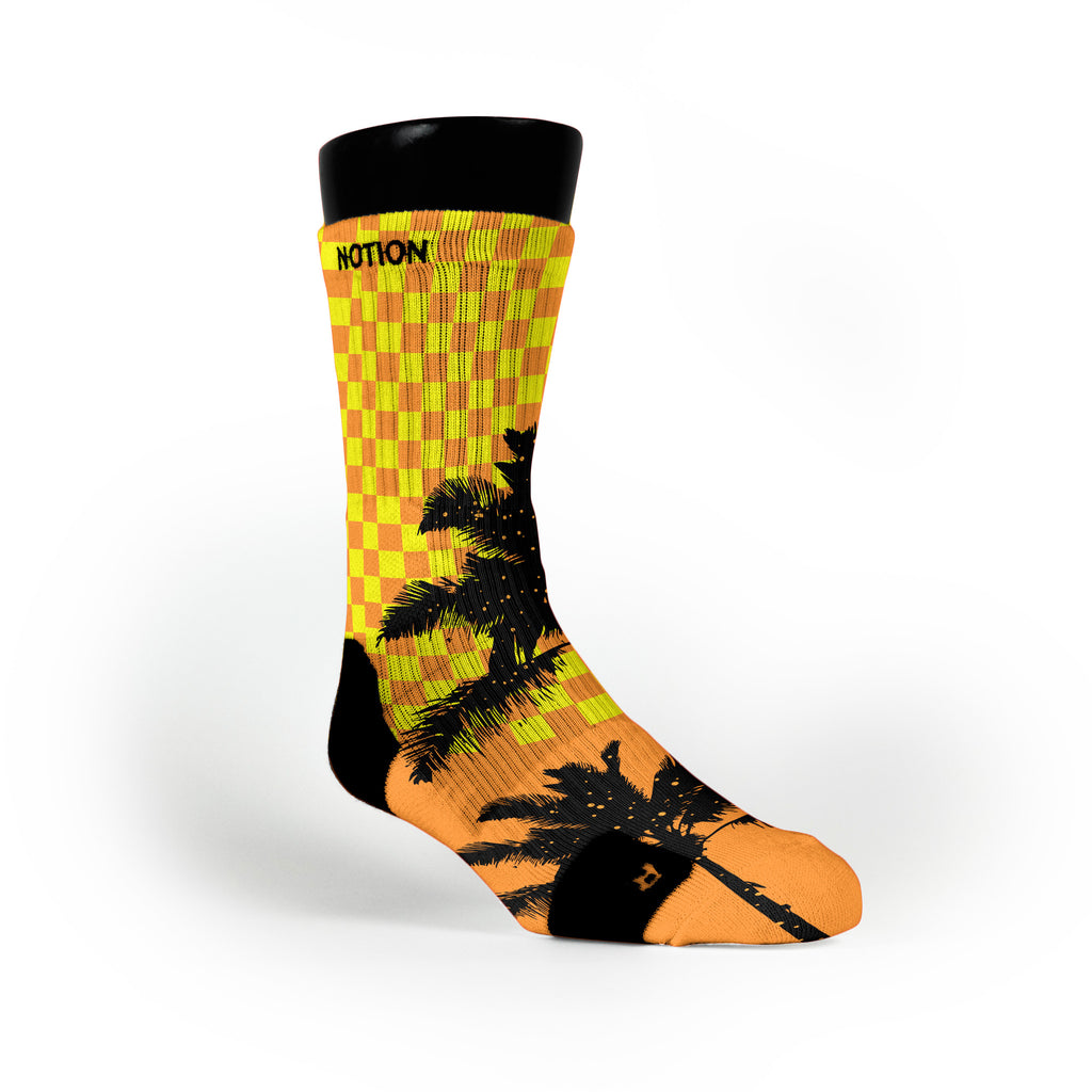 Orange Checker Palms Custom Notion Socks