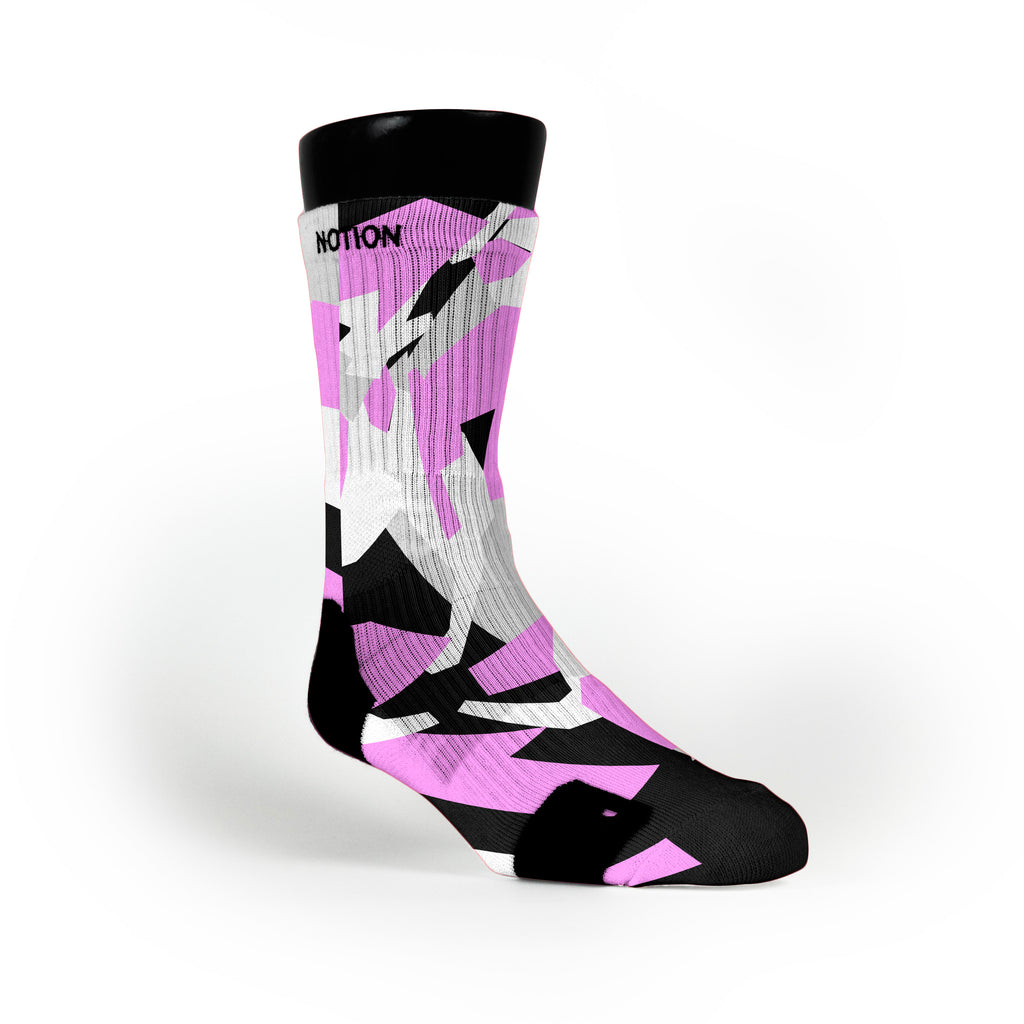 Pink & Black Hardwood Camo Custom Notion Socks