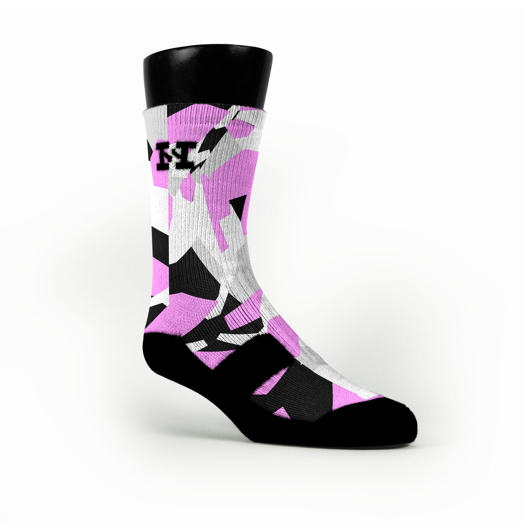 Pink & Black Hardwood Camo Custom HoopSwagg Socks