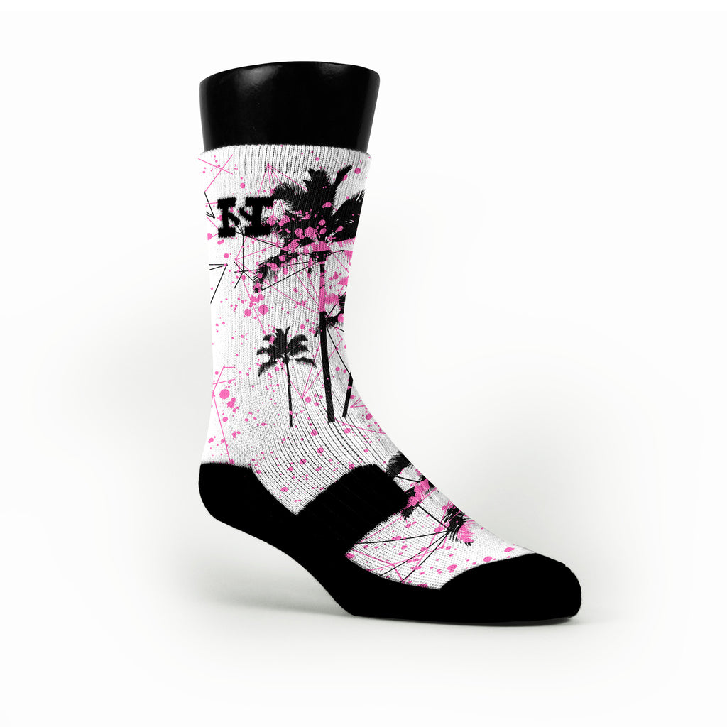 Pink Palms Custom HoopSwagg Socks