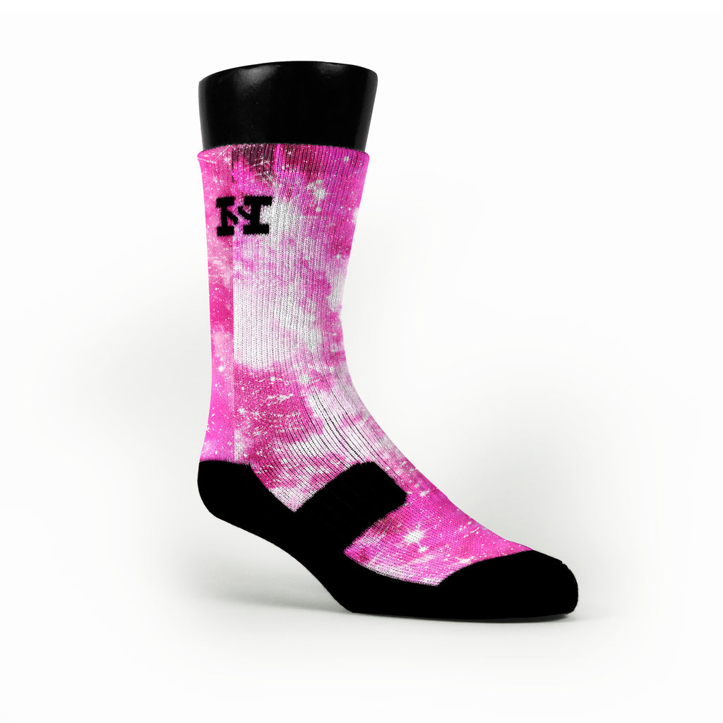 Pink Sparkle Galaxy Custom HoopSwagg Socks