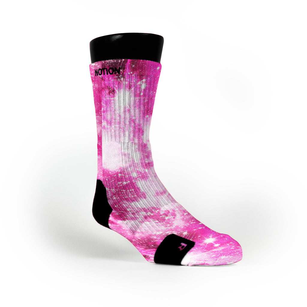 Pink Sparkle Galaxy Custom Notion Socks