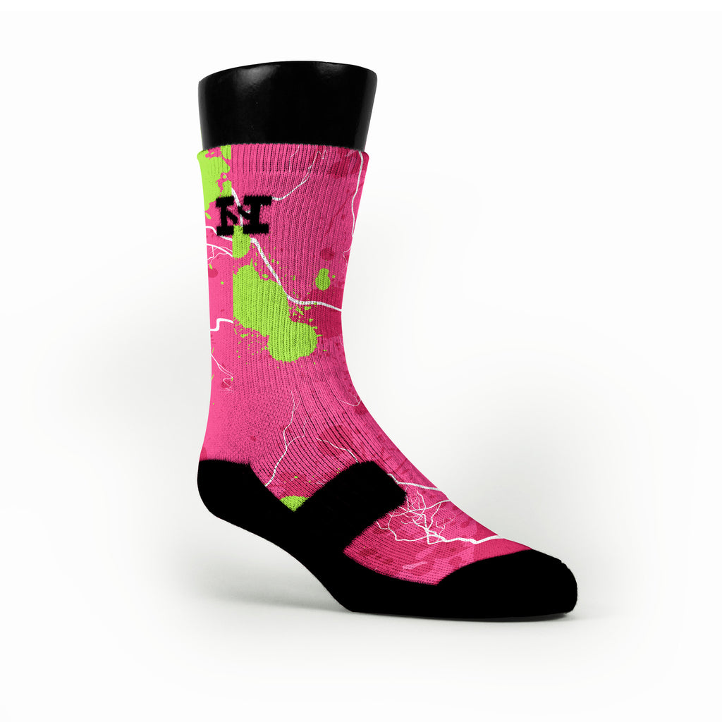 Pink Splats Custom HoopSwagg Socks