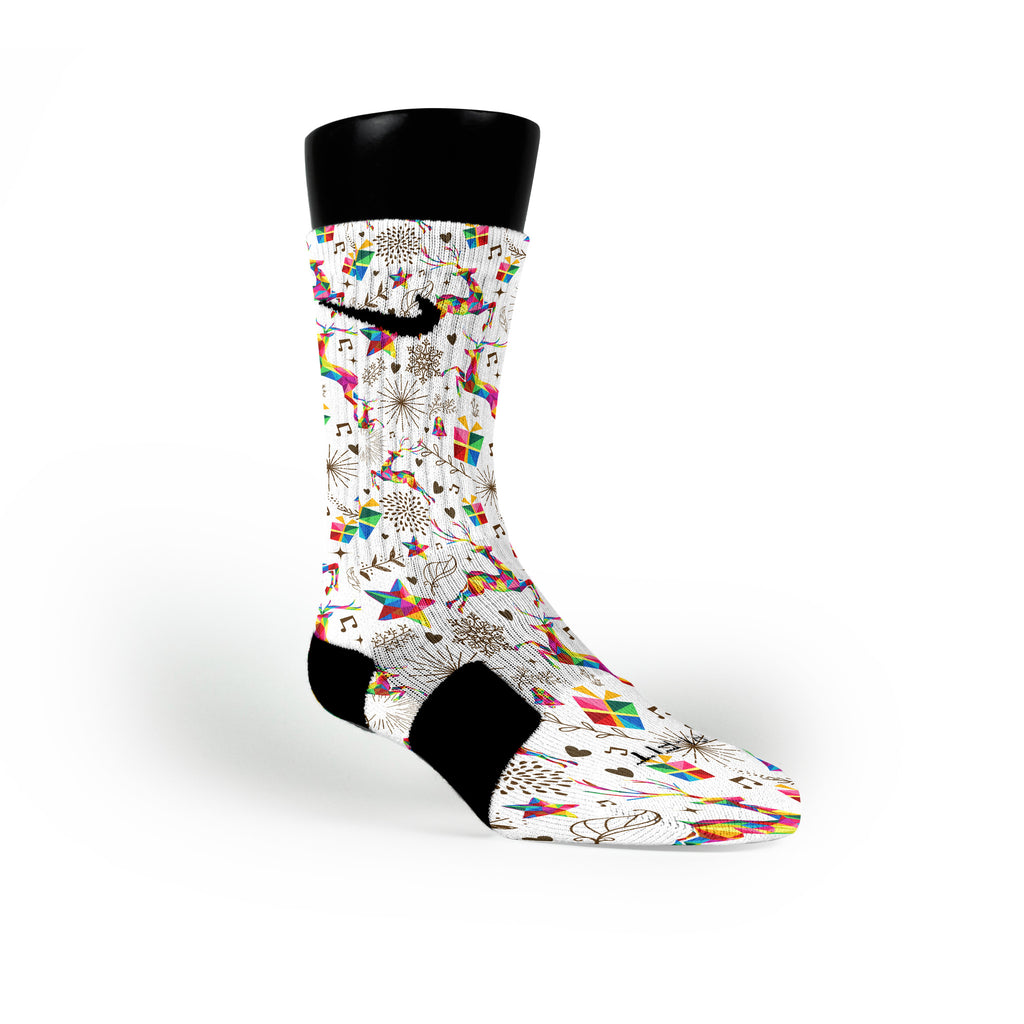 Prism Reindeer Custom Nike Elite Socks