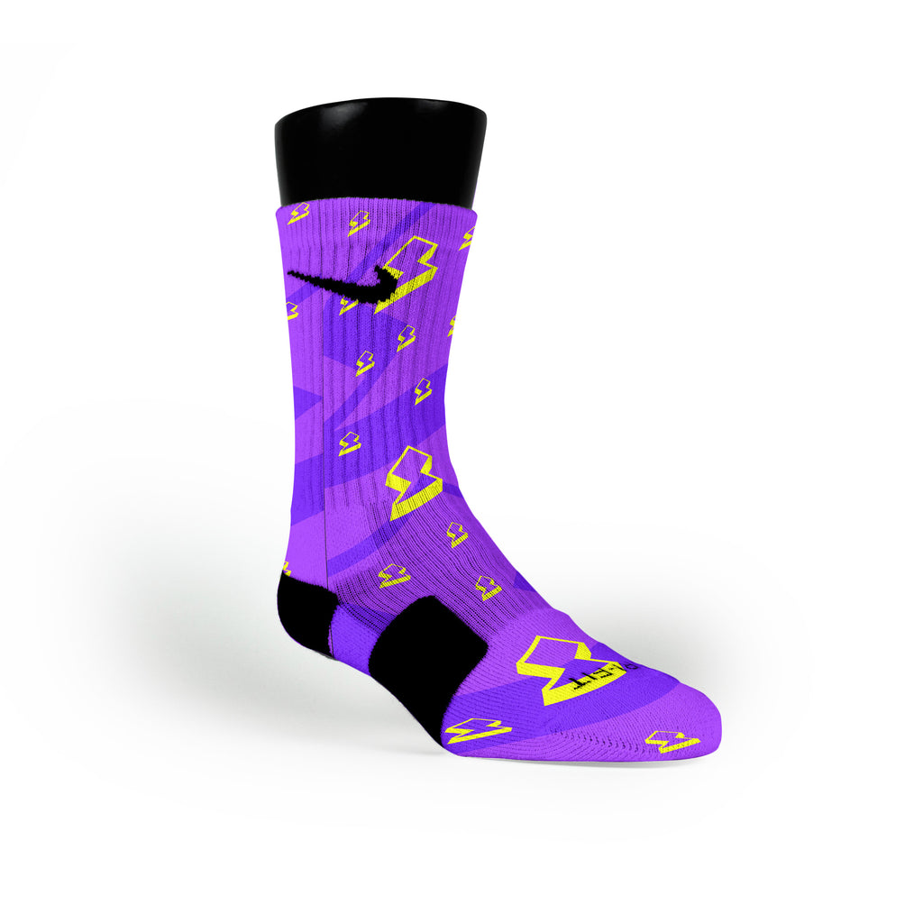 Purple Lightning Bolt Custom Nike Elite Socks