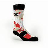 Red & Gold Hardwood Camo Custom HoopSwagg Socks