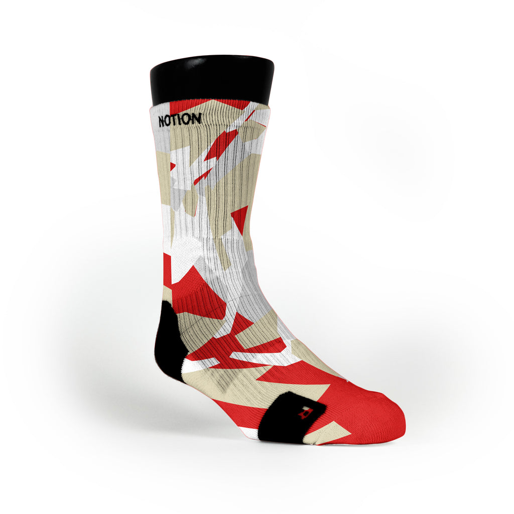 Red & Gold Hardwood Camo Custom Notion Socks