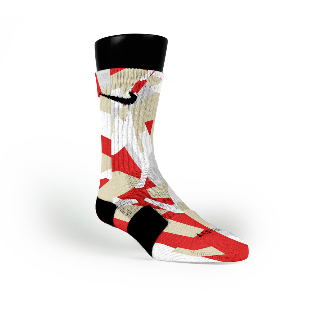 Red & Gold Hardwood Camo Custom Nike Elite Socks