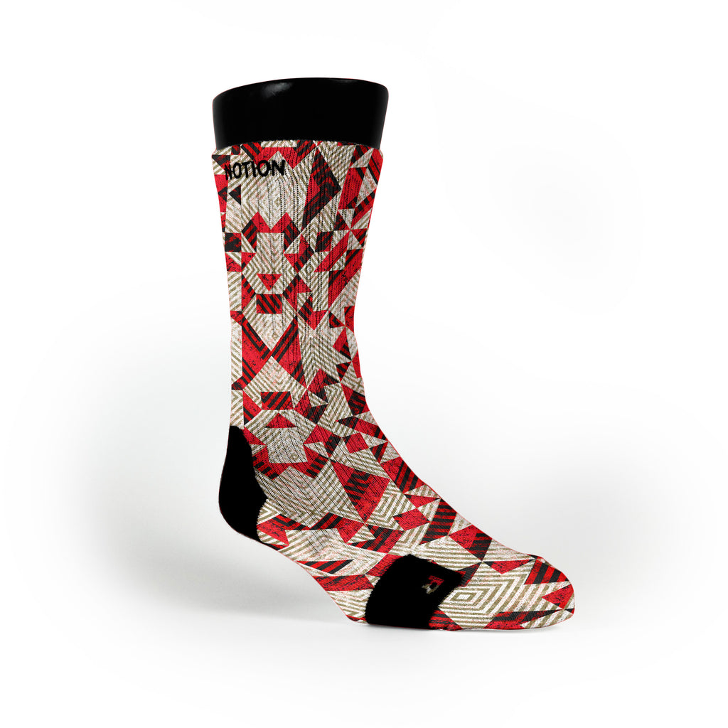 Red Grooves Custom Notion Socks