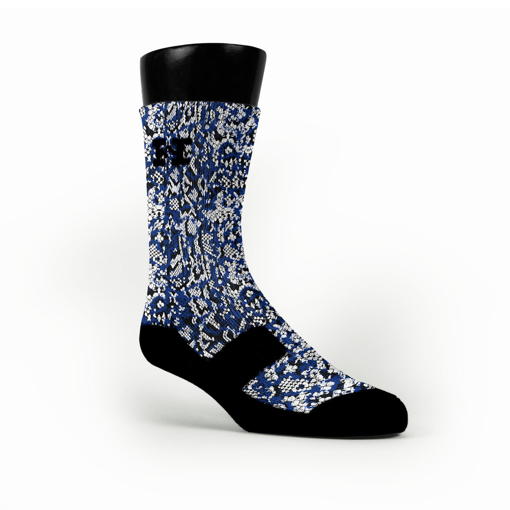 Royal Blue Snakeskin Custom HoopSwagg Socks