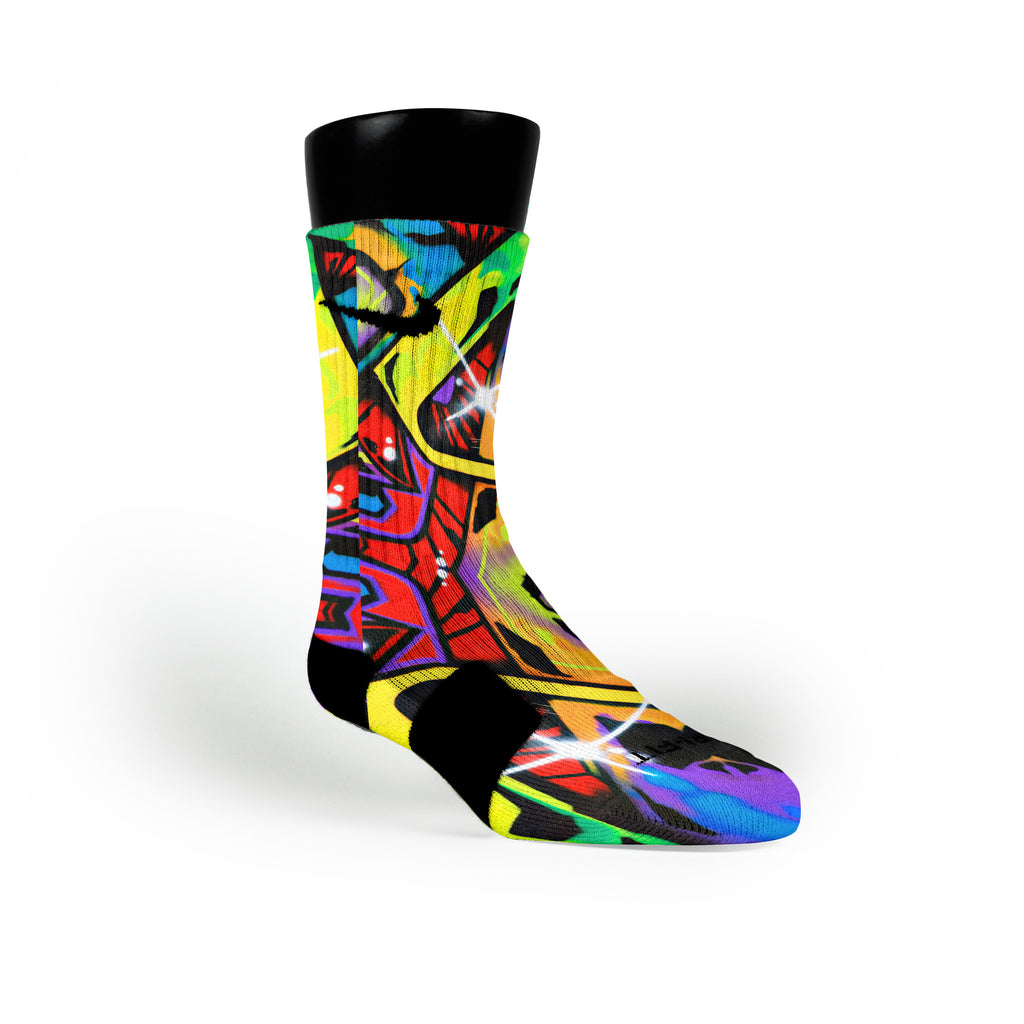 Space Graffiti Custom Nike Elite Socks