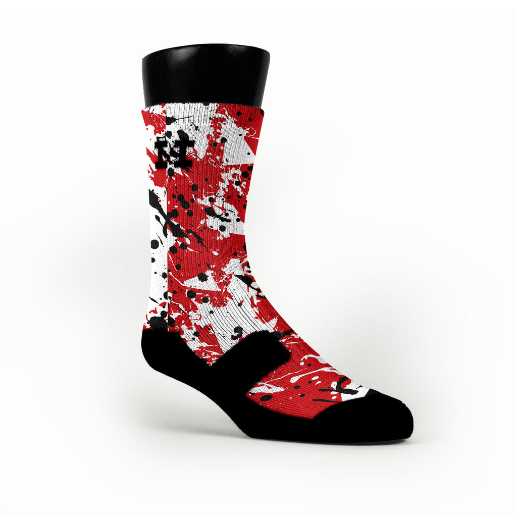 Wisconsin Splatter Custom HoopSwagg Socks