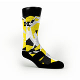 Yellow & Black Hardwood Camo Custom HoopSwagg Socks