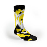 Yellow & Black Hardwood Camo Custom Notion Socks