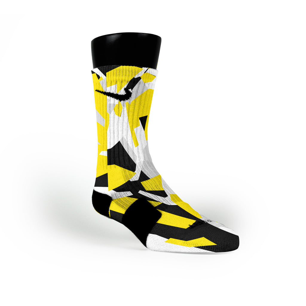 Yellow & Black Hardwood Camo Custom Nike Elite Socks